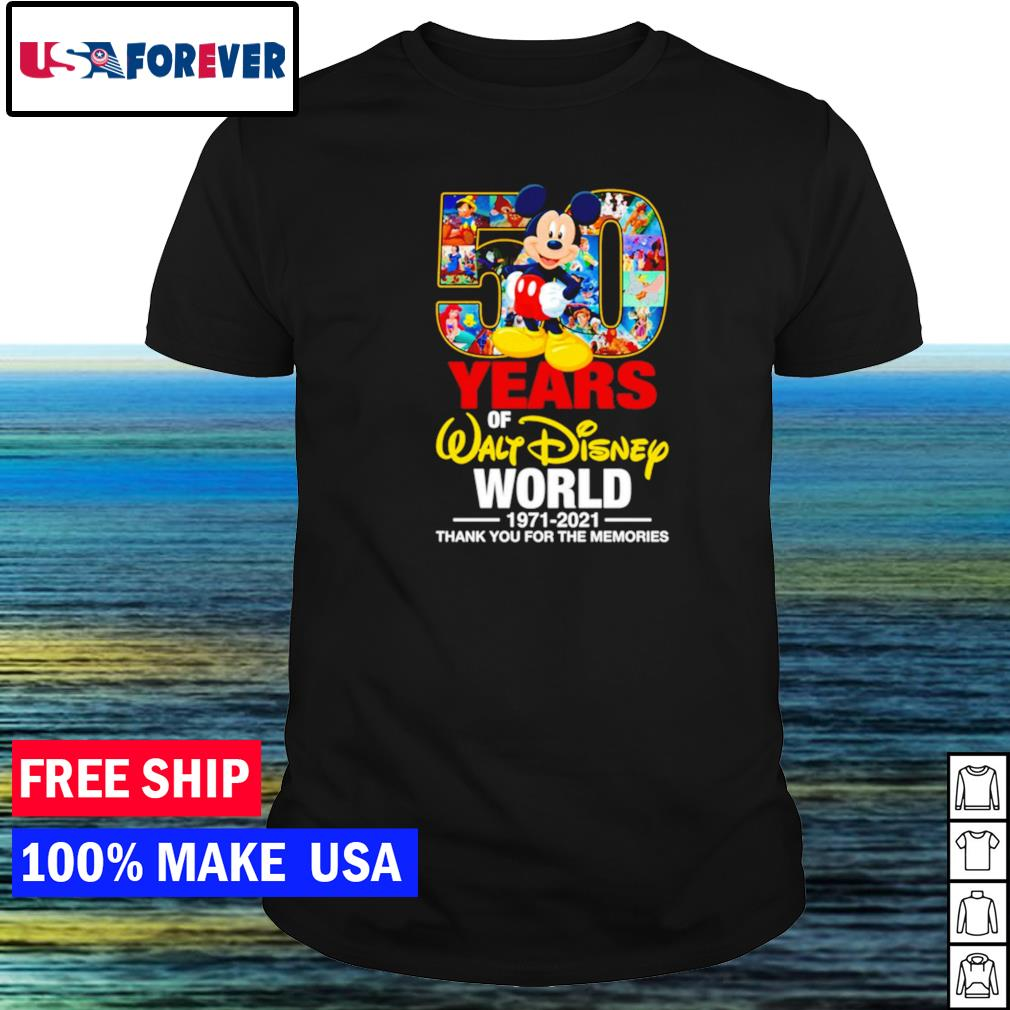 50 years of Walt Disney World 1971-2021 thank you for the memories shirt