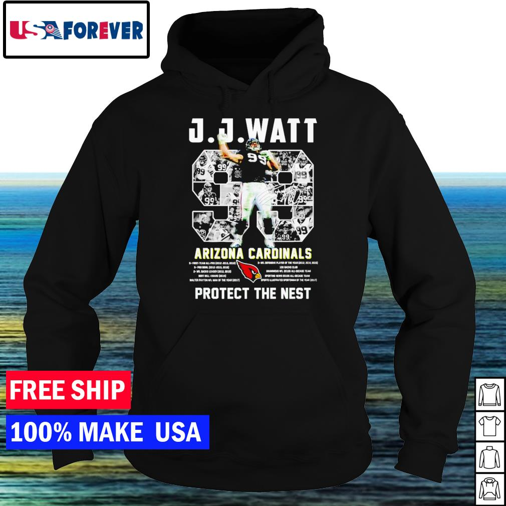 J J Watt Arizona Cardinals number 99 protect the nest signature NFL s hoodie