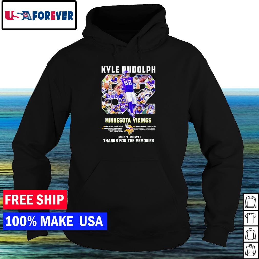 Kyle Rudolph Minnesota Vikings number 82 2011-2021 thank you for the memories signature s hoodie