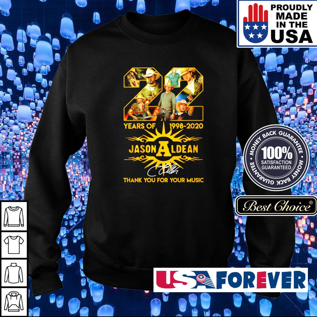 22 years of 1998-2020 Jason Aldean thank you for your music s sweater