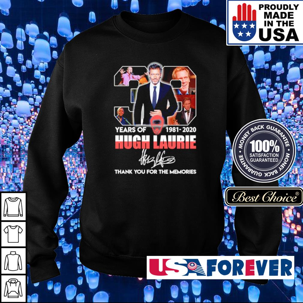 38 years of Hugh Laurie thank you for the memories signature s sweater