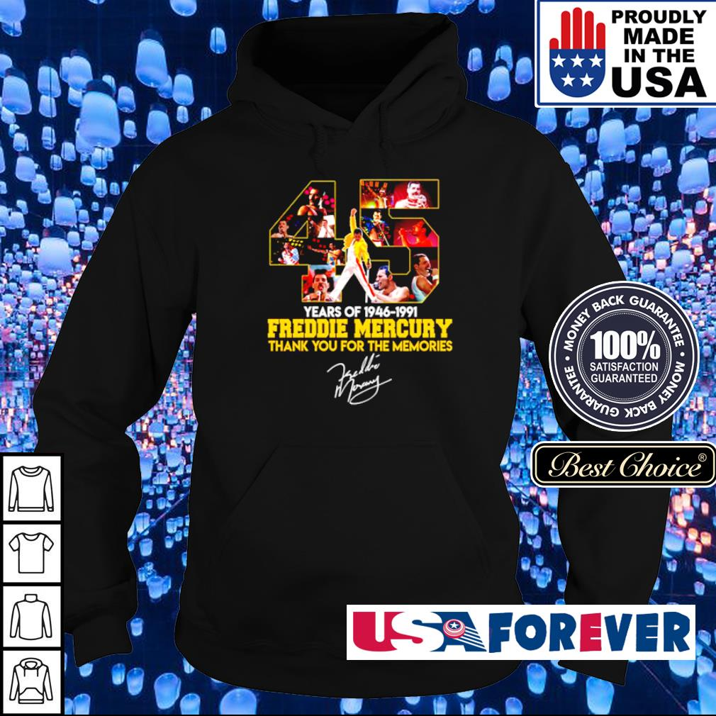 45 years of Freddie Mercury thank you for the memories signature s hoodie