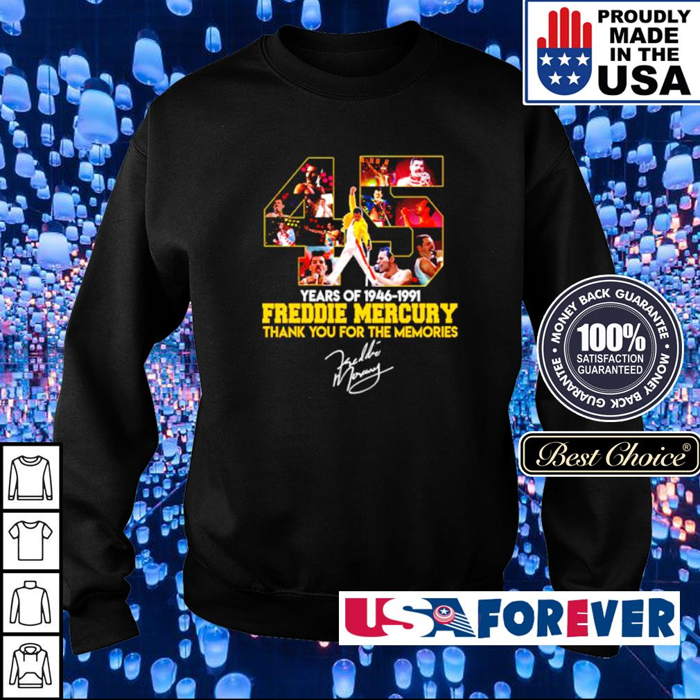 45 years of Freddie Mercury thank you for the memories signature s sweater