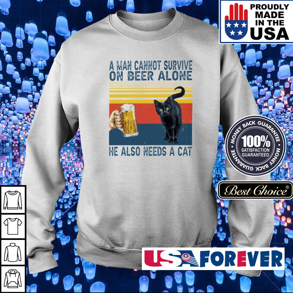 A man cannot survive on beer alone he also needs a cat s sweater