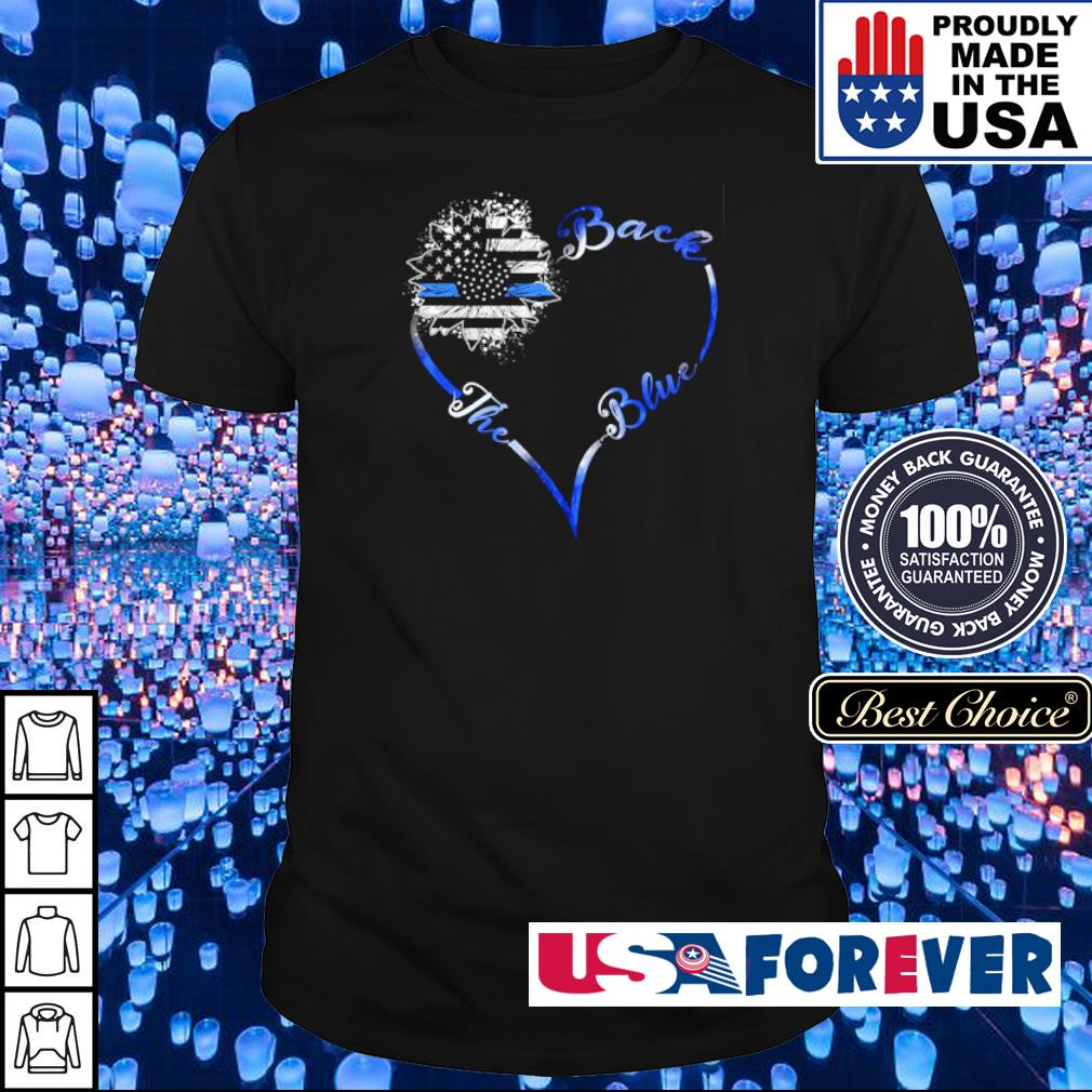 America Flag heart back the blue shirt