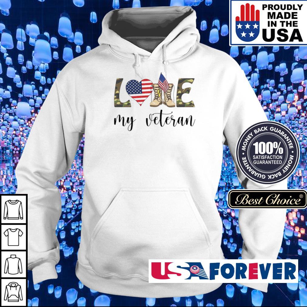 American Flag love my veteran s hoodie