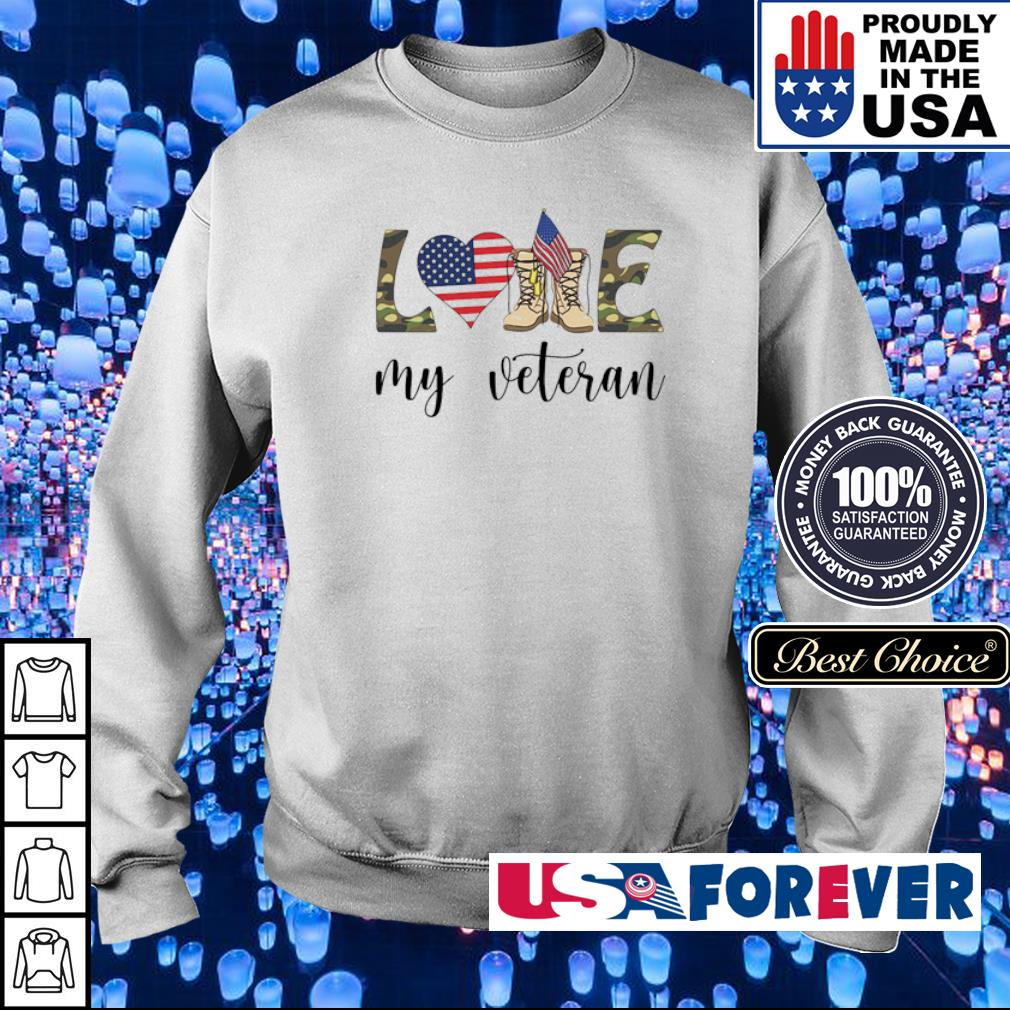 American Flag love my veteran s sweater