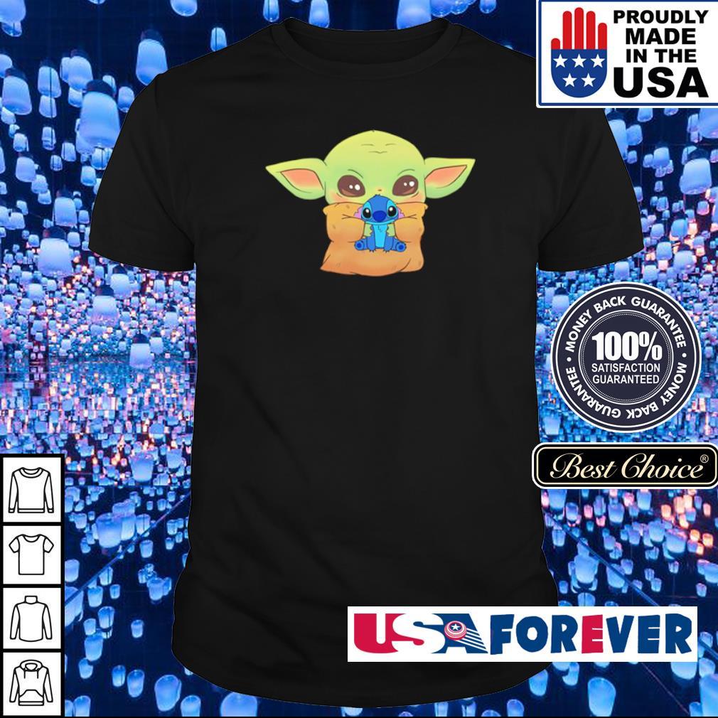 Baby Yoda hug Baby Stitch shirt