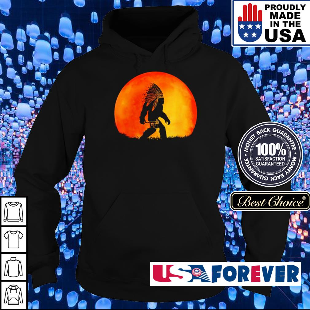 Bigfoot walking under red moon s hoodie