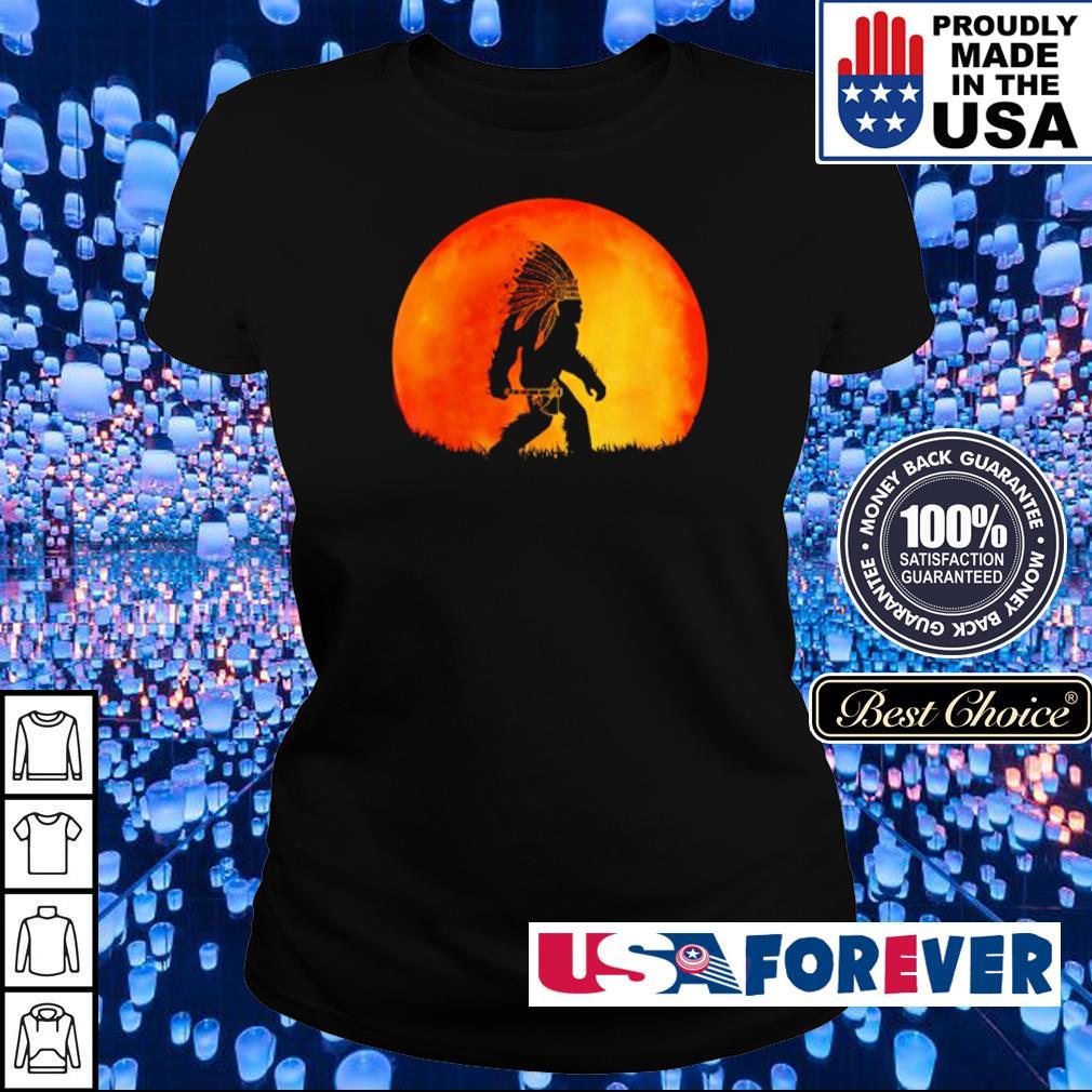 Bigfoot walking under red moon s ladies