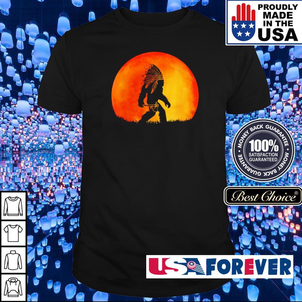 Bigfoot walking under red moon shirt