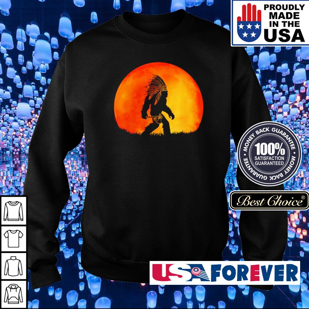 Bigfoot walking under red moon s sweater