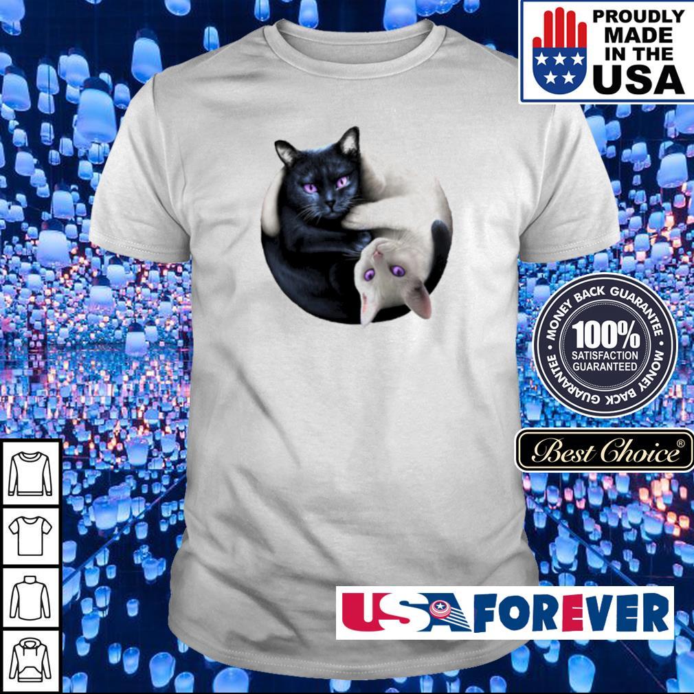 Black and White cat yin yang shirt