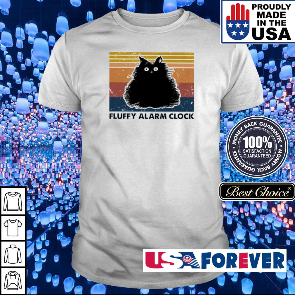 Black cat fluffy alarm clock vintage shirt