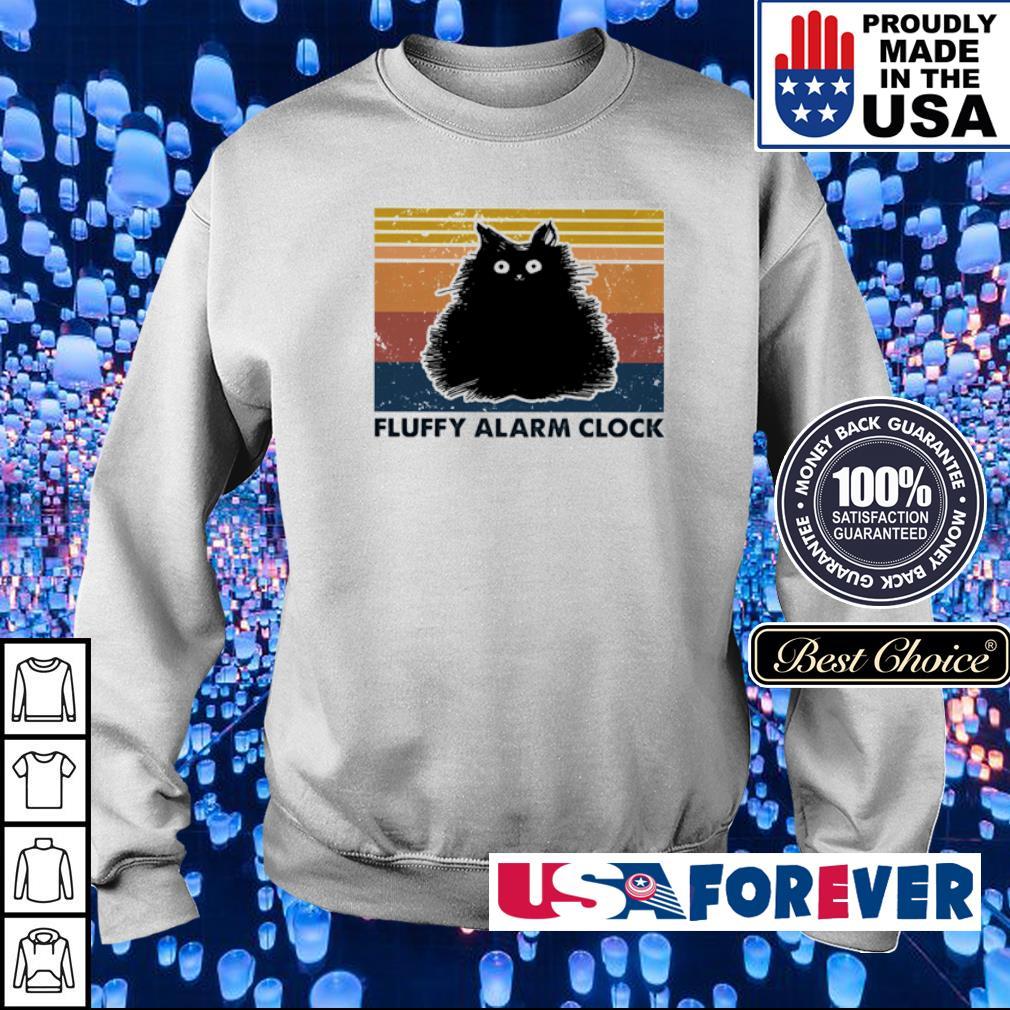Black cat fluffy alarm clock vintage s sweater