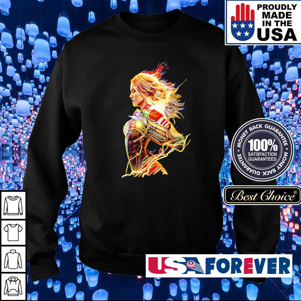 Captain Marvel wearing Infinity Gauntlet s sweater