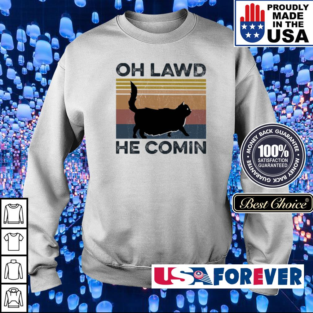 Cat Oh Lawd He Comin Vintage Retro s sweater