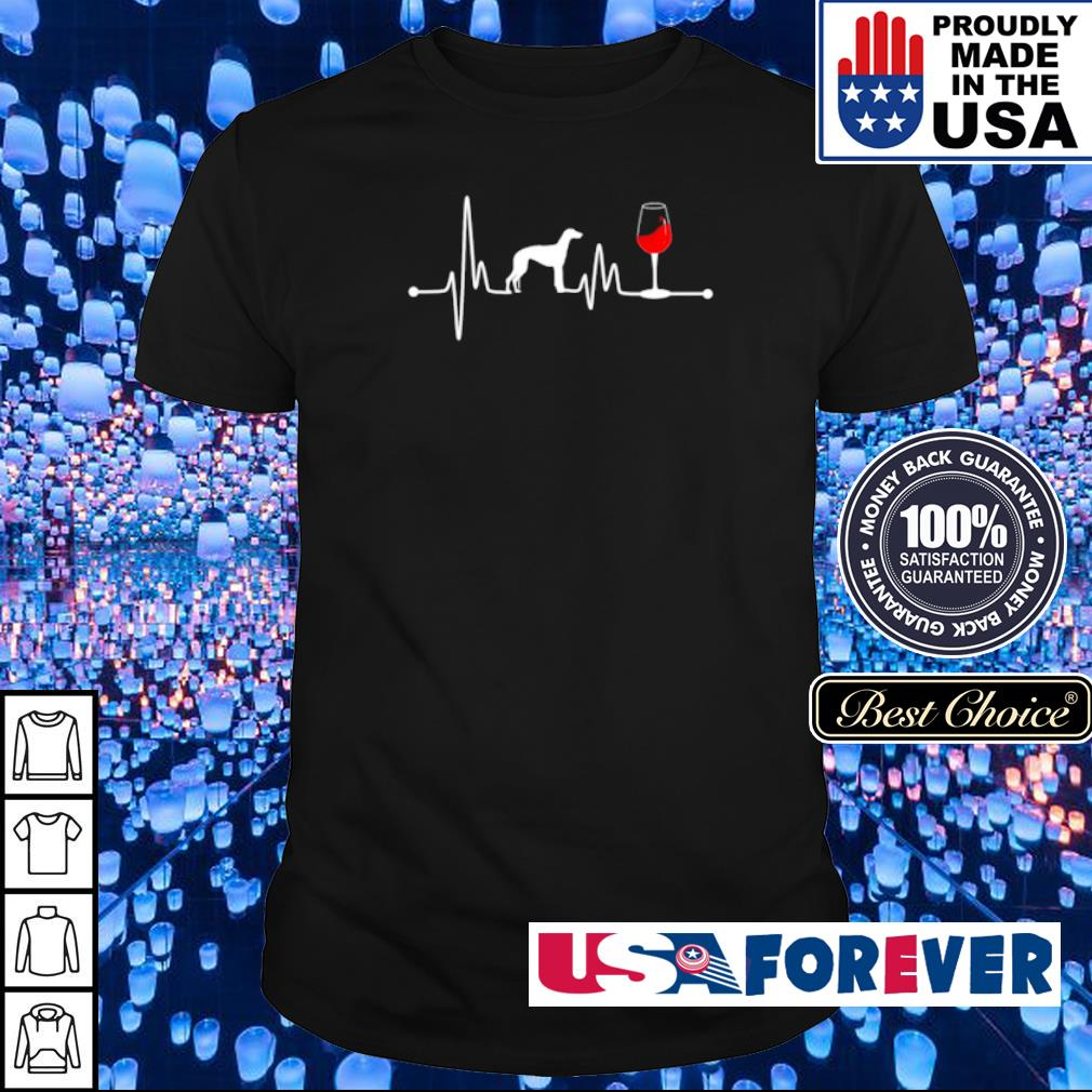 Heartbeat Ekg Pulse Greyhound And Wine shirt