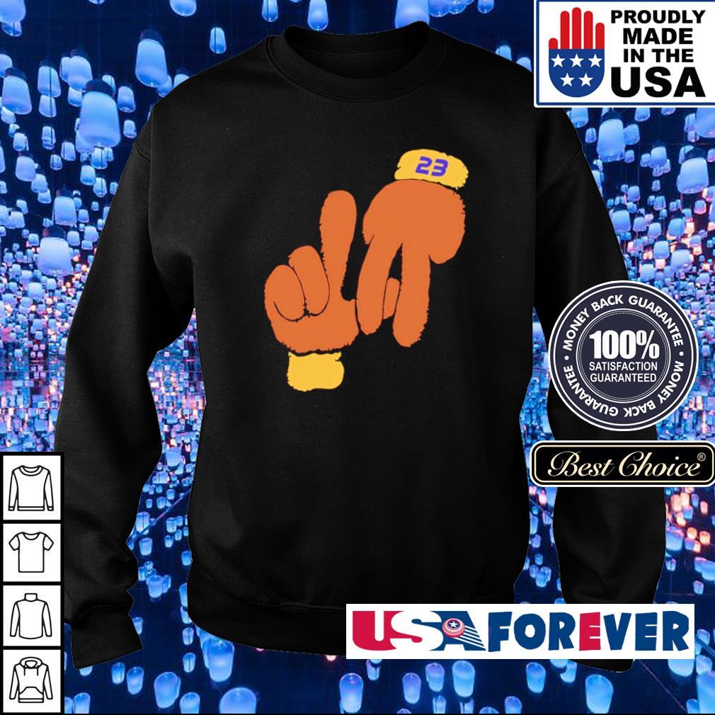 Lebron la hand gestures s sweater
