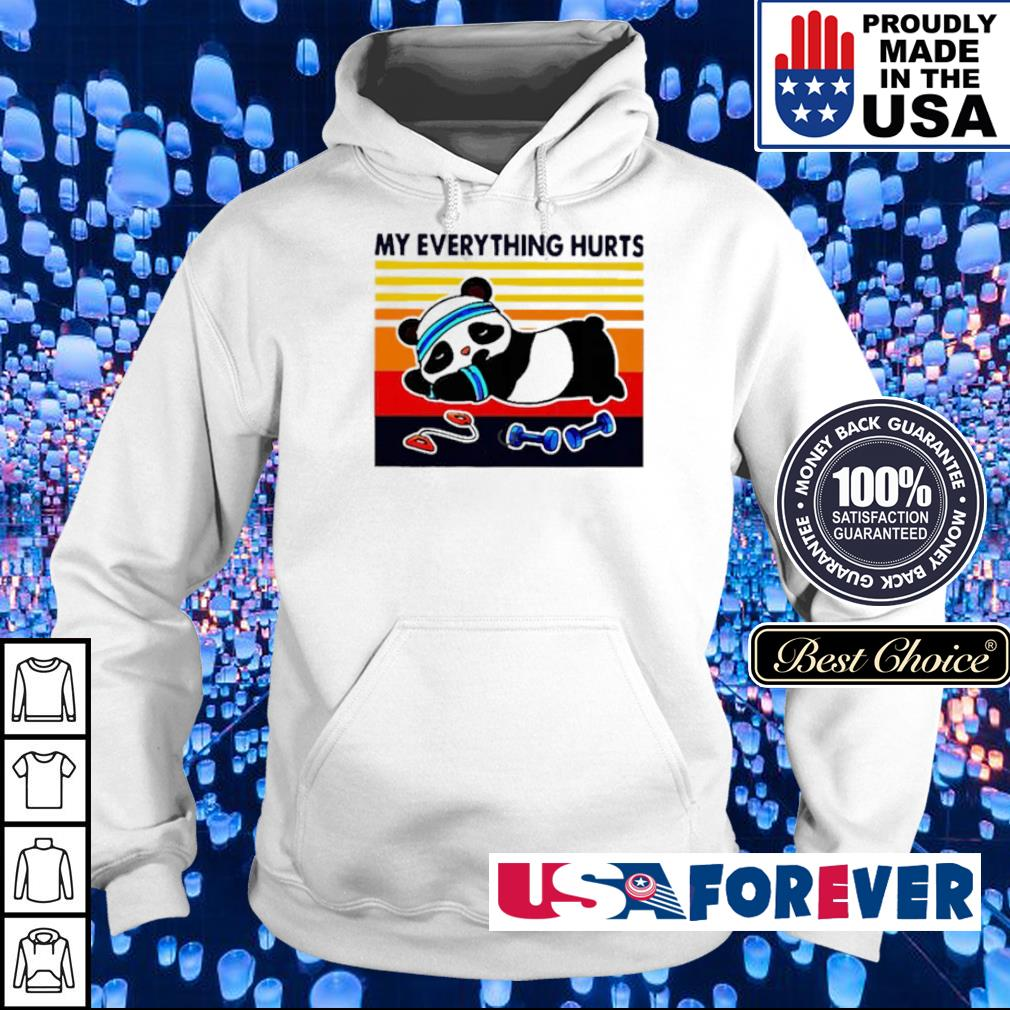 Panda doing gym my everthing hurt vintage s hoodie