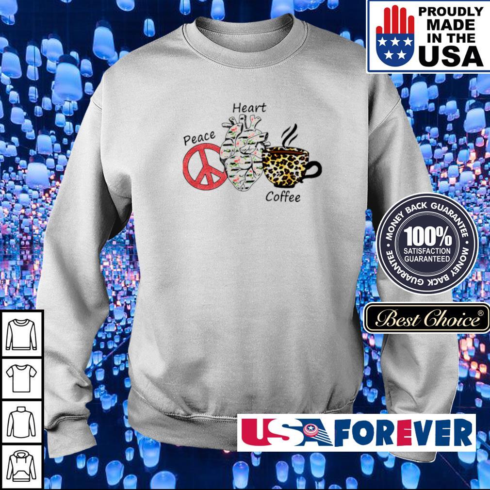 Peace Heart Coffee Flowers Leopard s sweater