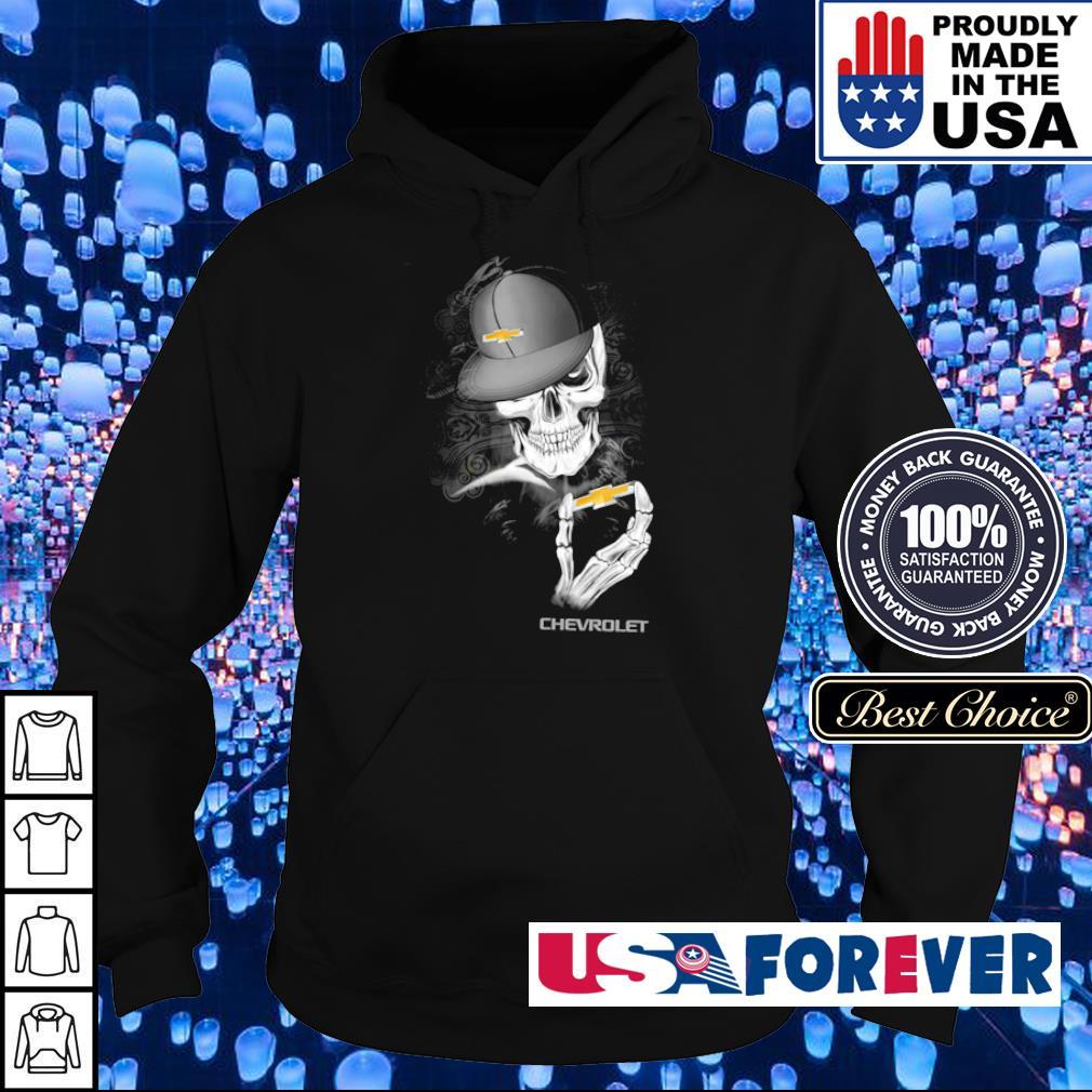 Skeleton holding Chevrolet s hoodie