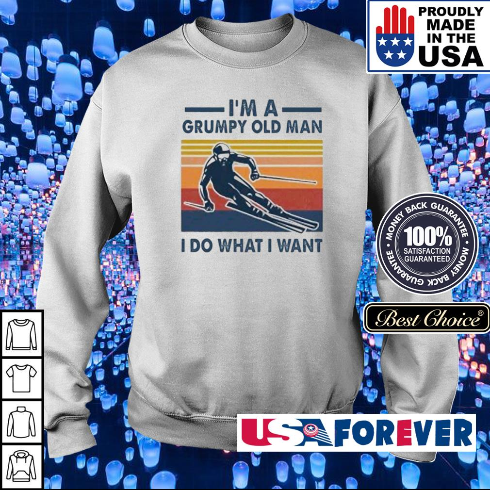 Skiing I'm a grumpy old man I do what I want vintage retro s sweater