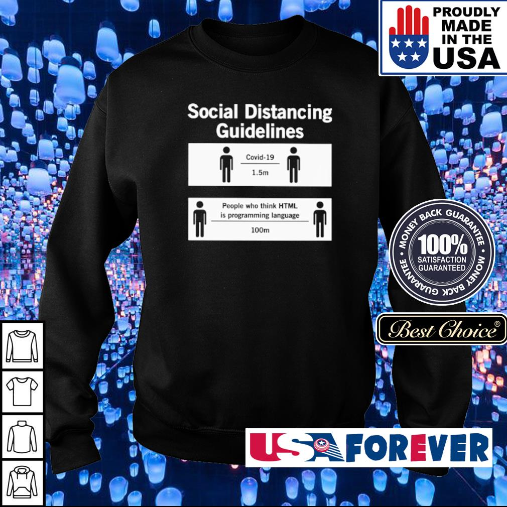 Social distancing guidelines covid-19 1.5m people who think HTML is programming language 100m s sweater