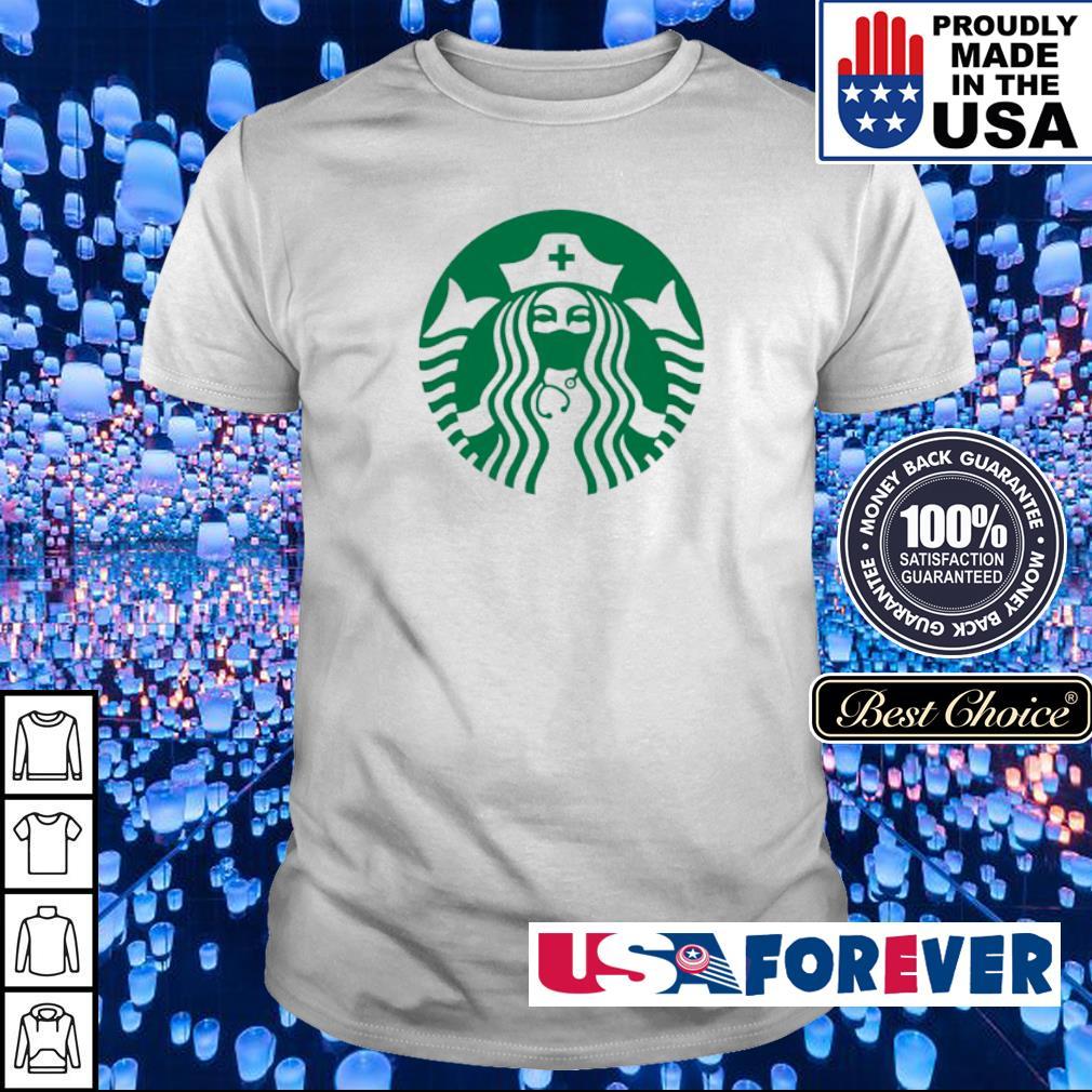 Starbucks nurse wearing mask shirt