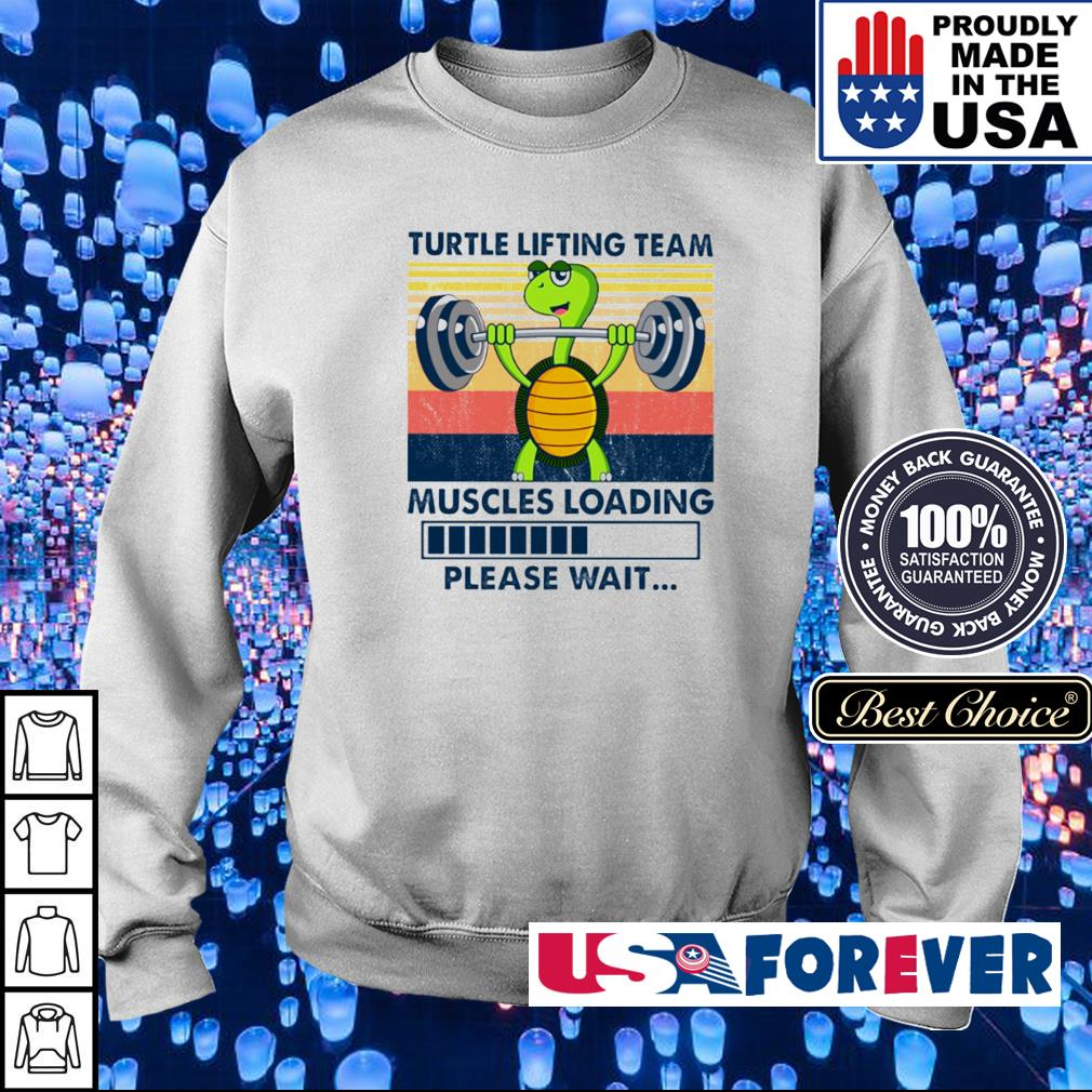 Turtle lifting team muscles loading please wait vintage s sweater