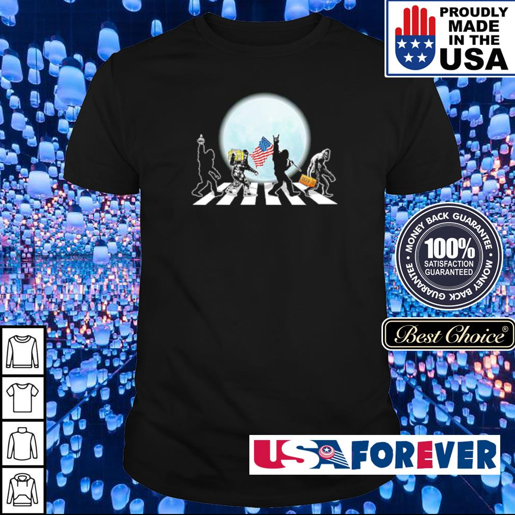Abbey Road Big Foot American Flag Beer shirt