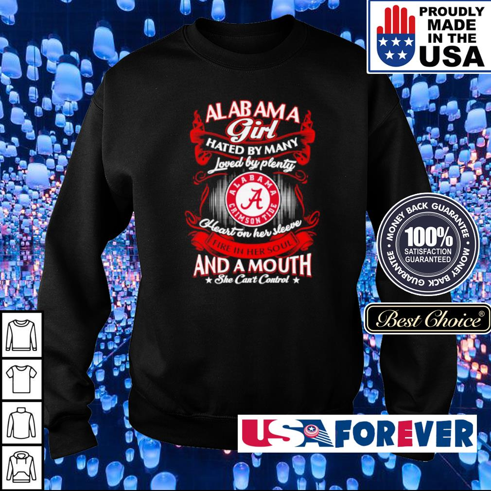 Alabama Cimson Tide hated by many loved by plenty heart on her sleeeve s sweater