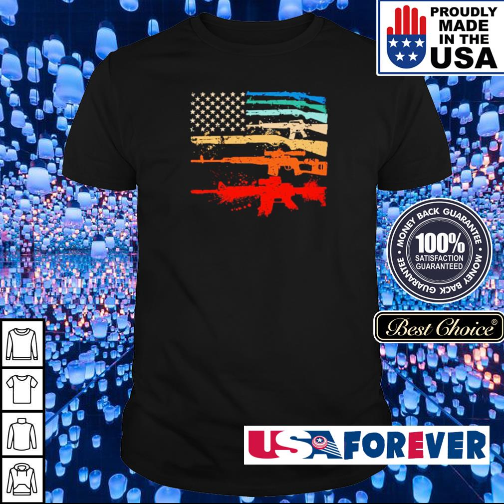 American Flag shotgun rifle snipe guns shirt