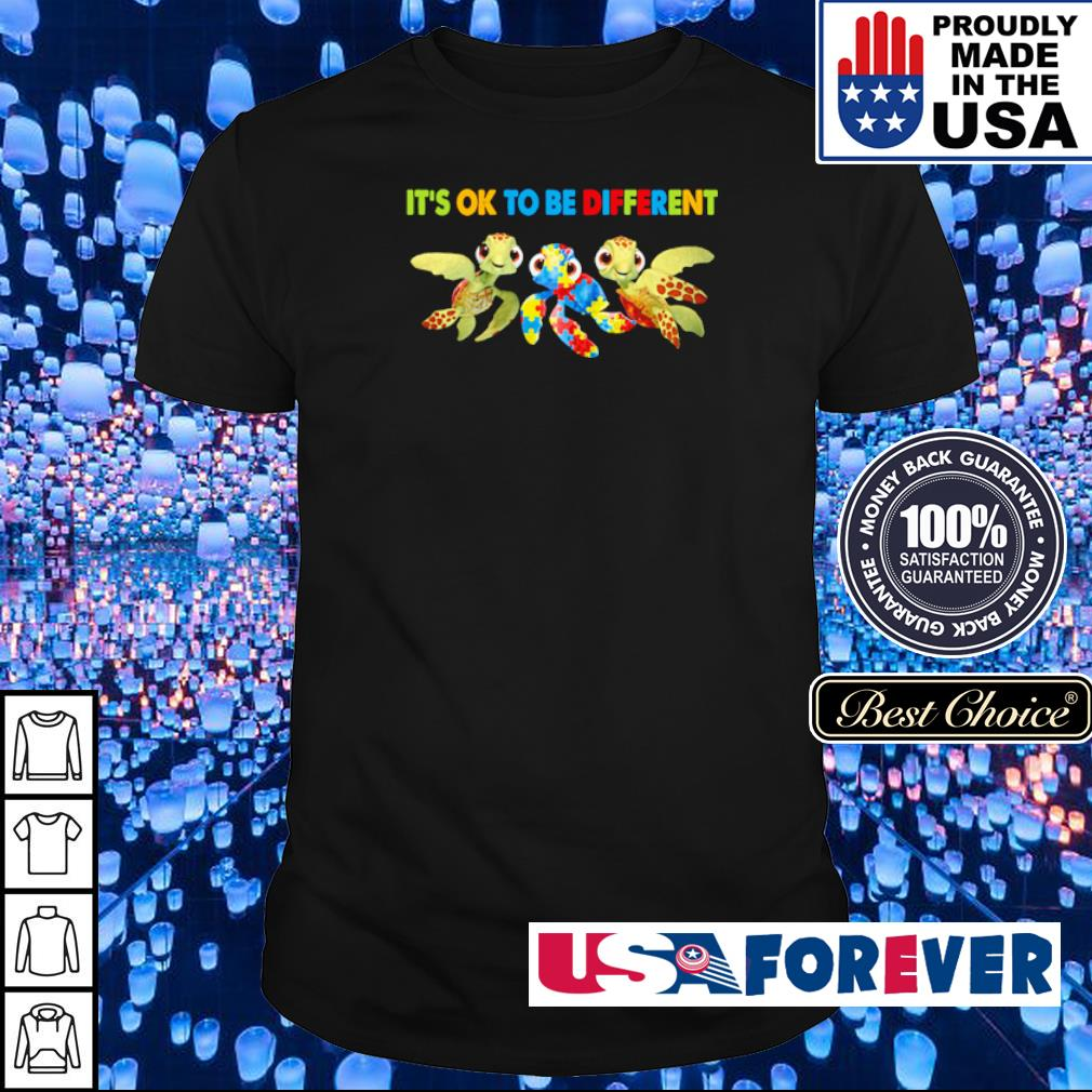 Autism Awareness turtle it's ok to be different shirt