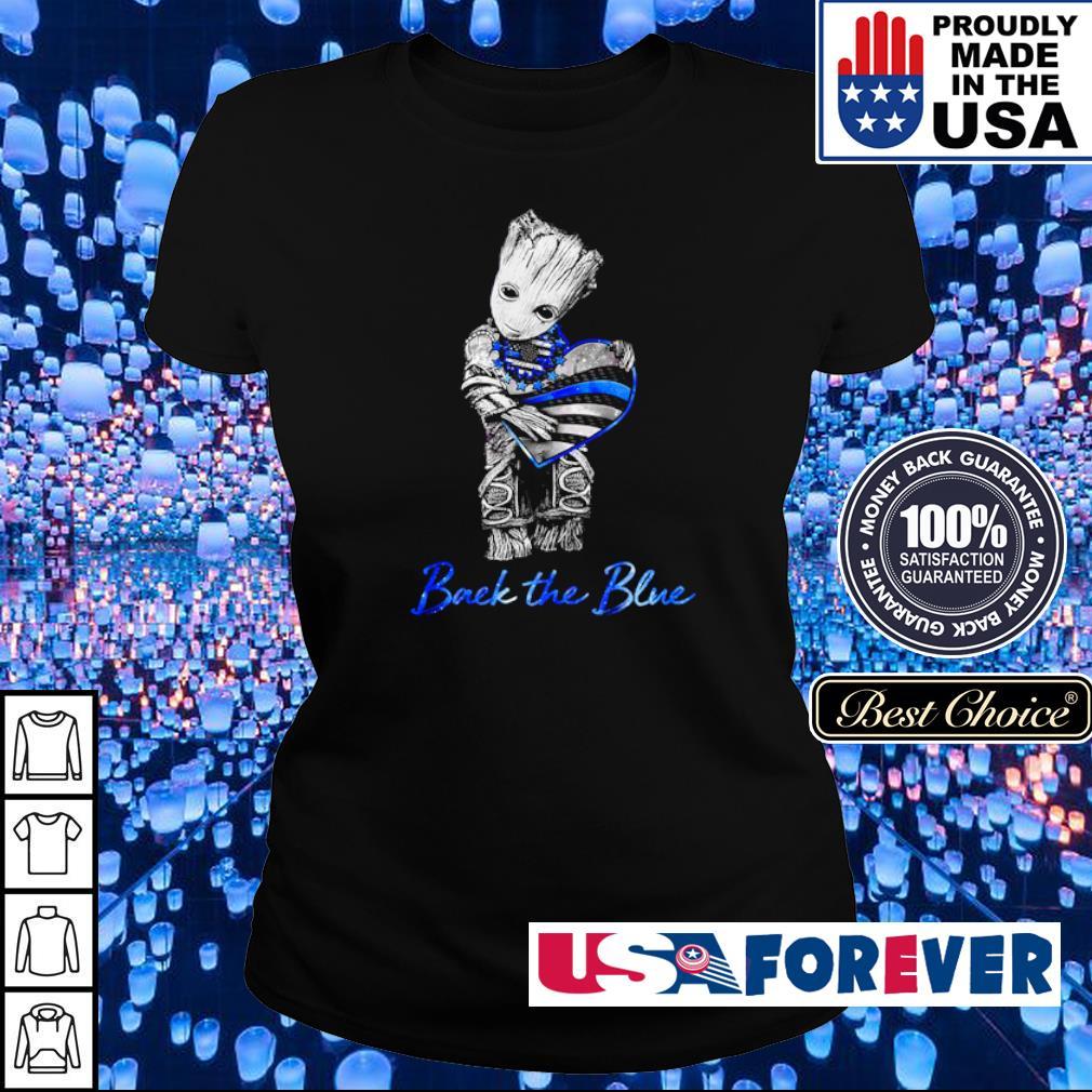 Baby Yoda hug America Flag back the blue s ladies