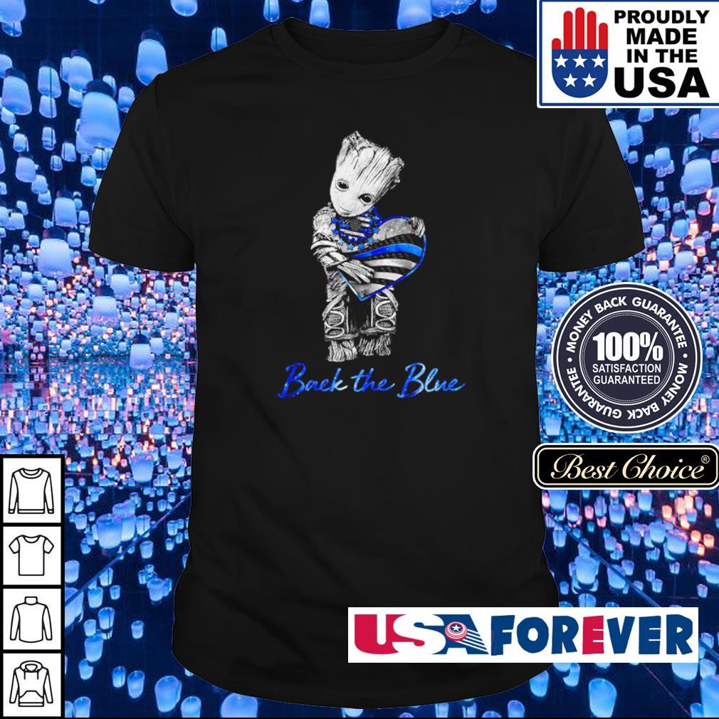 Baby Yoda hug America Flag back the blue shirt