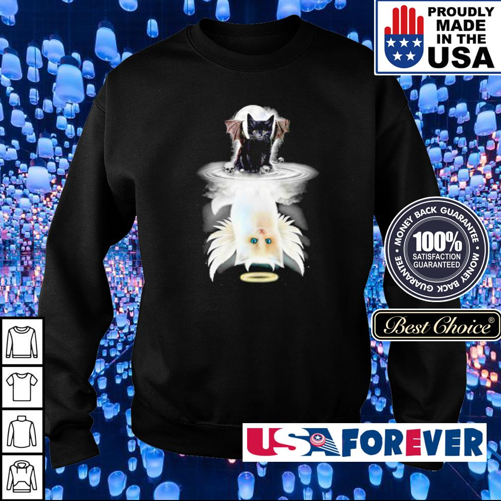 Demon Cat mirror reflection Angel Cat s sweater