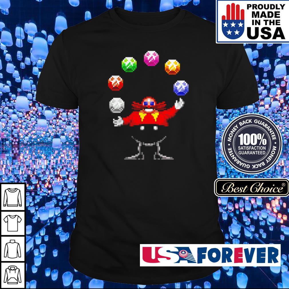 Dr. Eggman juggling the Chaos Emeralds shirt
