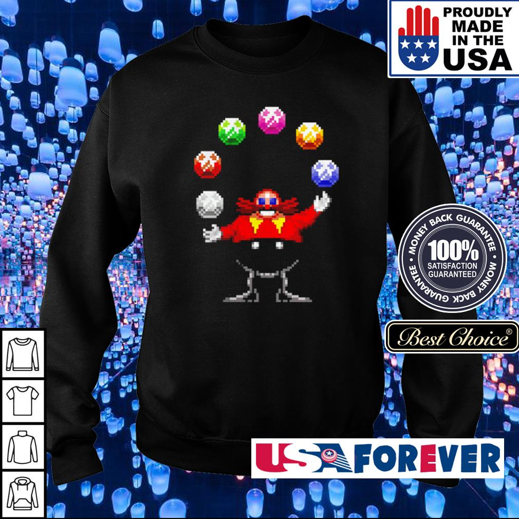 Dr. Eggman juggling the Chaos Emeralds s sweater