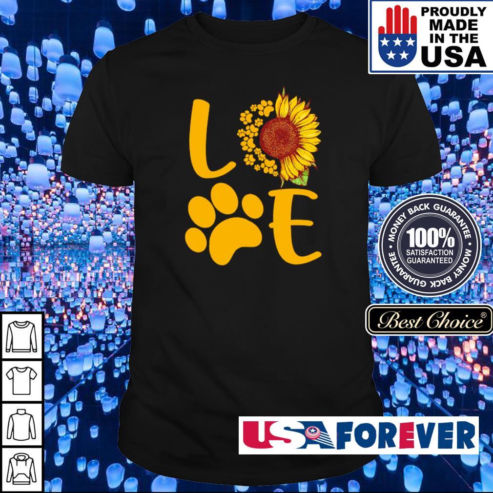 Love dog paws sunflower shirt