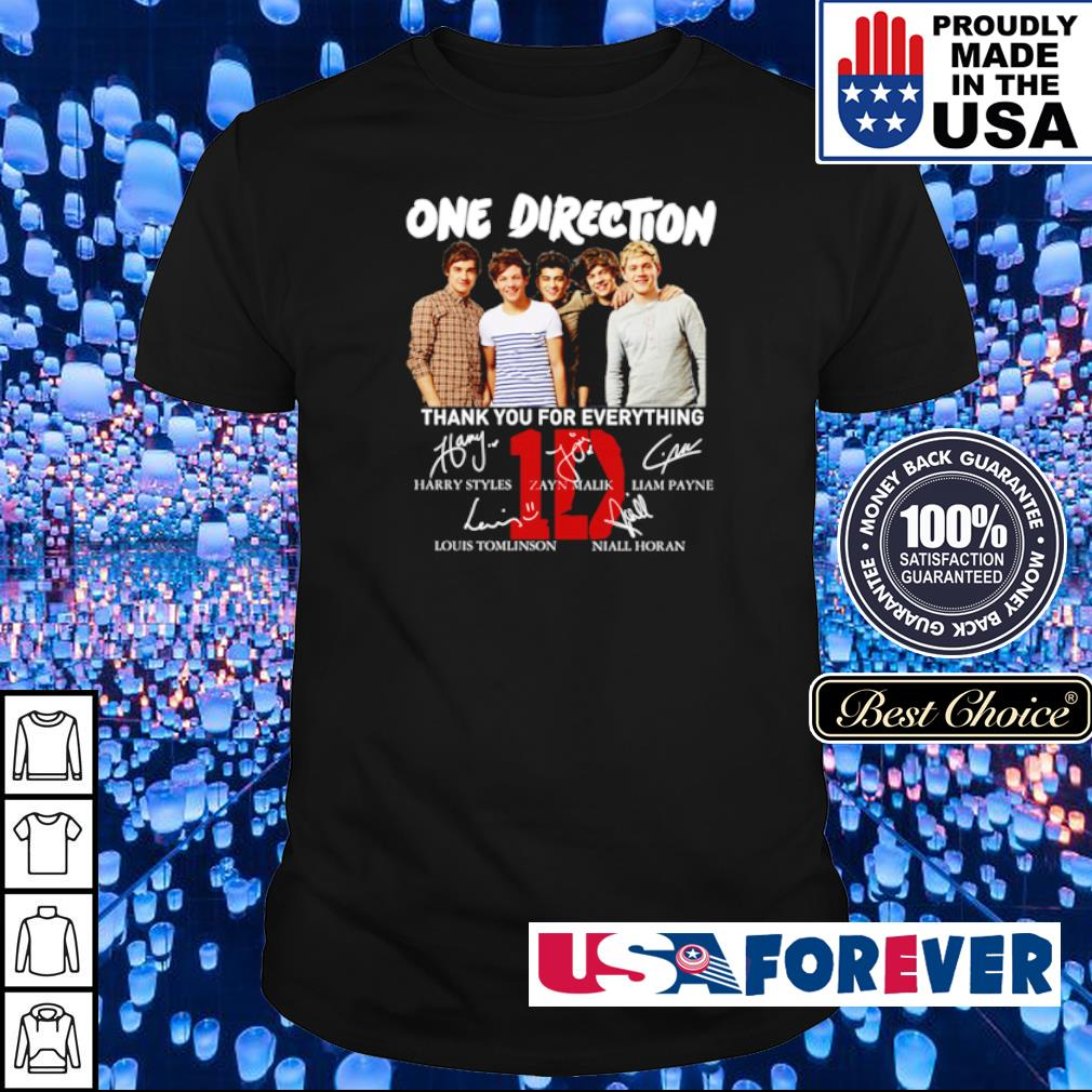 One Direction thank you for everything signatures shirt