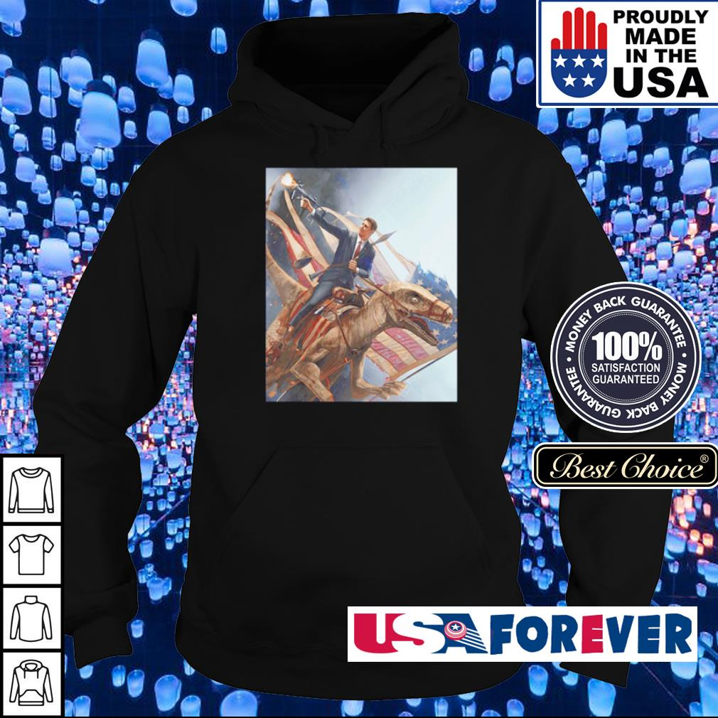 Ronald Reagan riding T Rex American Flag s hoodie