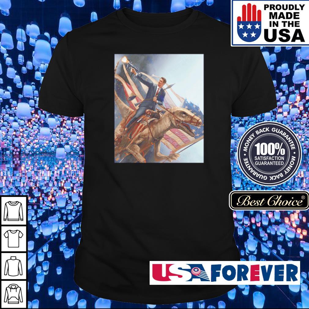 Ronald Reagan riding T Rex American Flag shirt