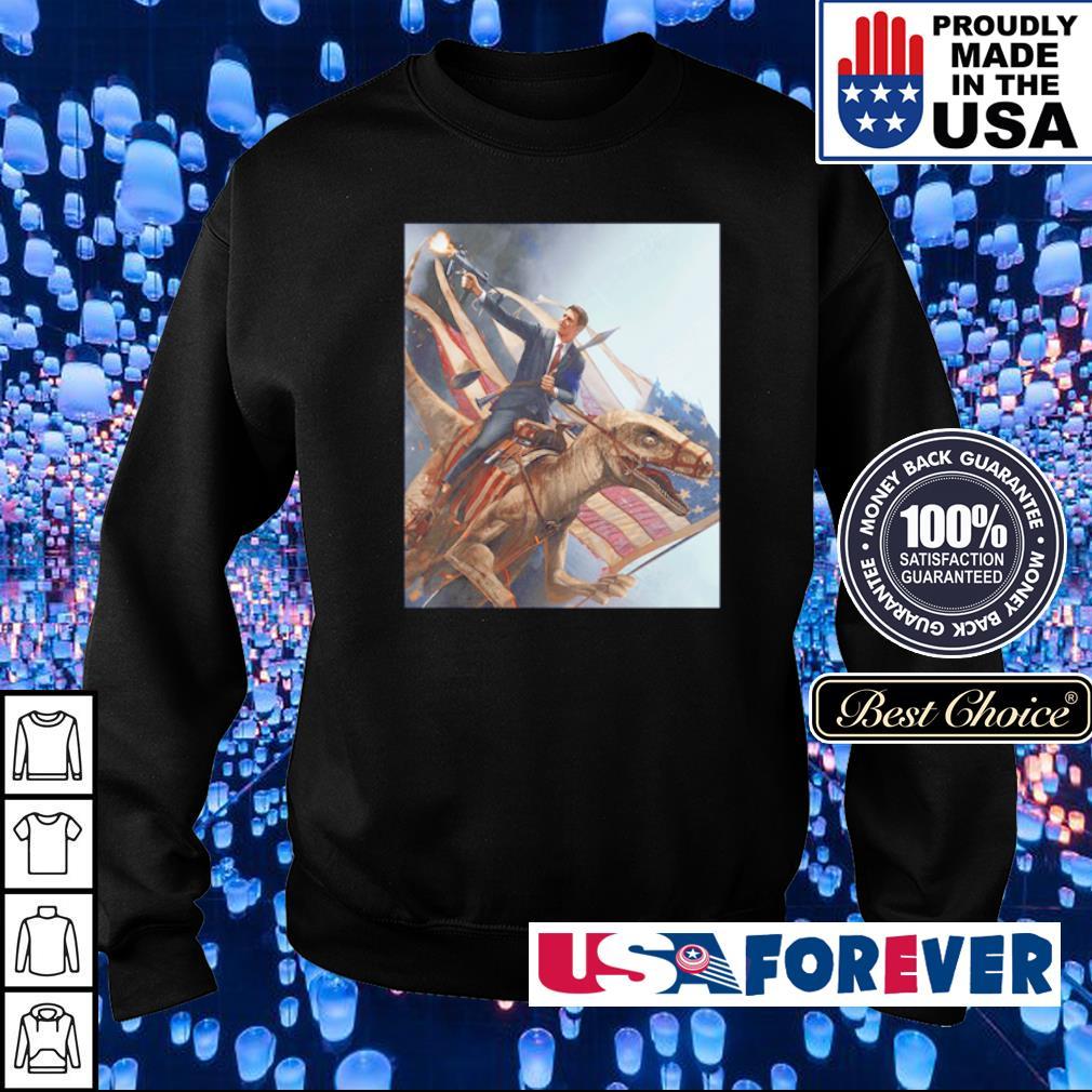 Ronald Reagan riding T Rex American Flag s sweater