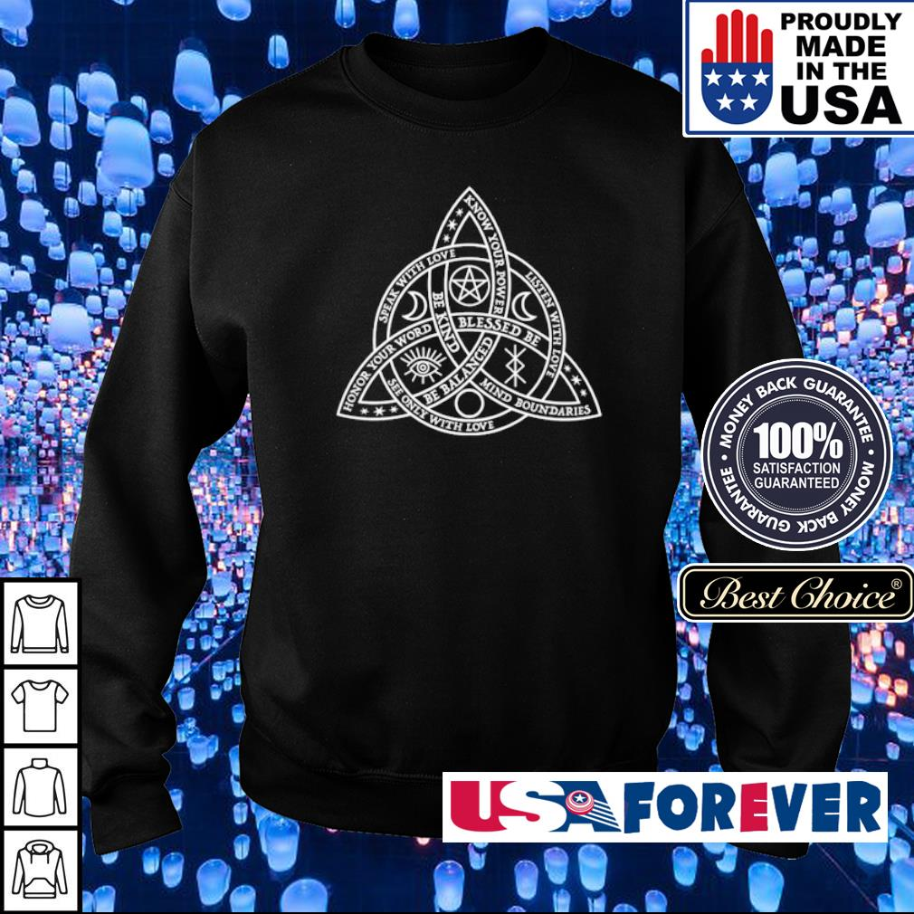 Speak with love listen with love know your power be balanced s sweater