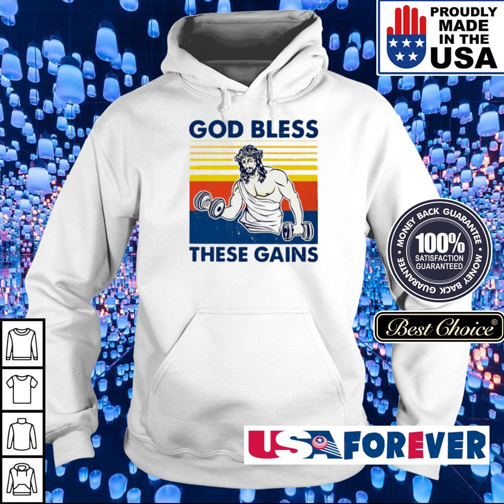 Jesus fitness God bless these gains vintage s hoodie
