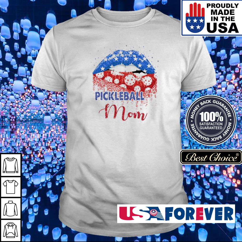 Pickleball mom American Flag independence day lips shirt