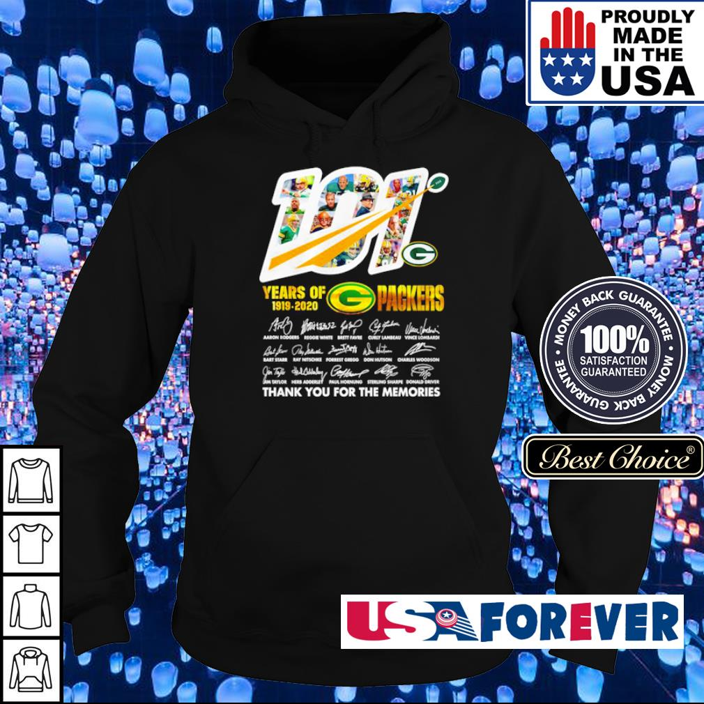 101 years of Green Bay Packers 1919 2020 thank you for the memories signature s hoodie