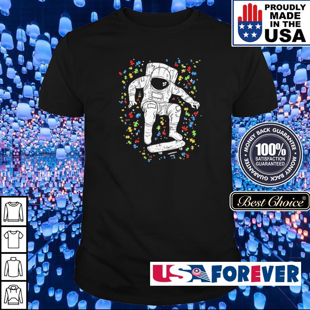 Autism awareness astronaut skateboard shirt