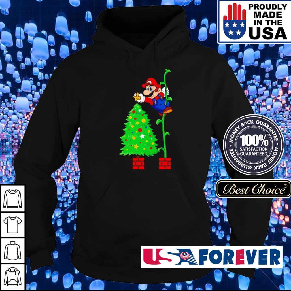 Awesome Mario and Christmas tree s hoodie